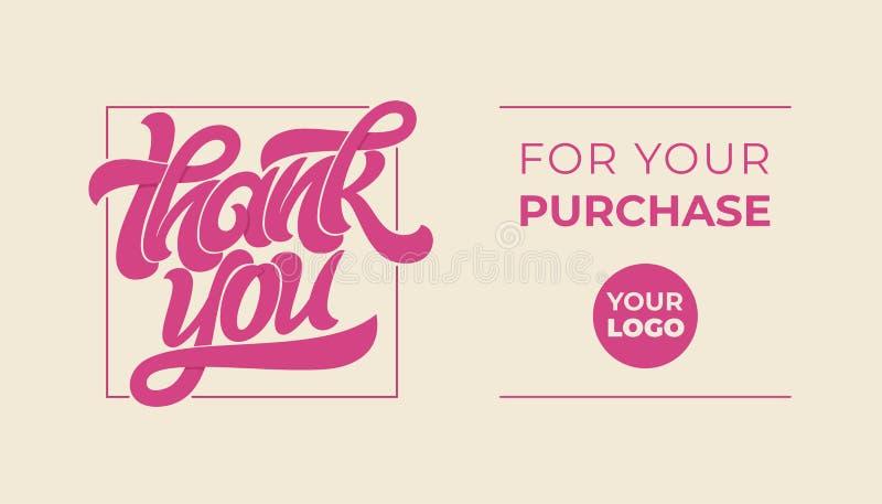 Σας ευχαριστώ για την αγορά σας Γράφοντας λογότυπο με το μασάζ Διανυσματική τυπογραφία για το έμβλημα, αφίσα, πρόσκληση, χαιρετισ ελεύθερη απεικόνιση δικαιώματος