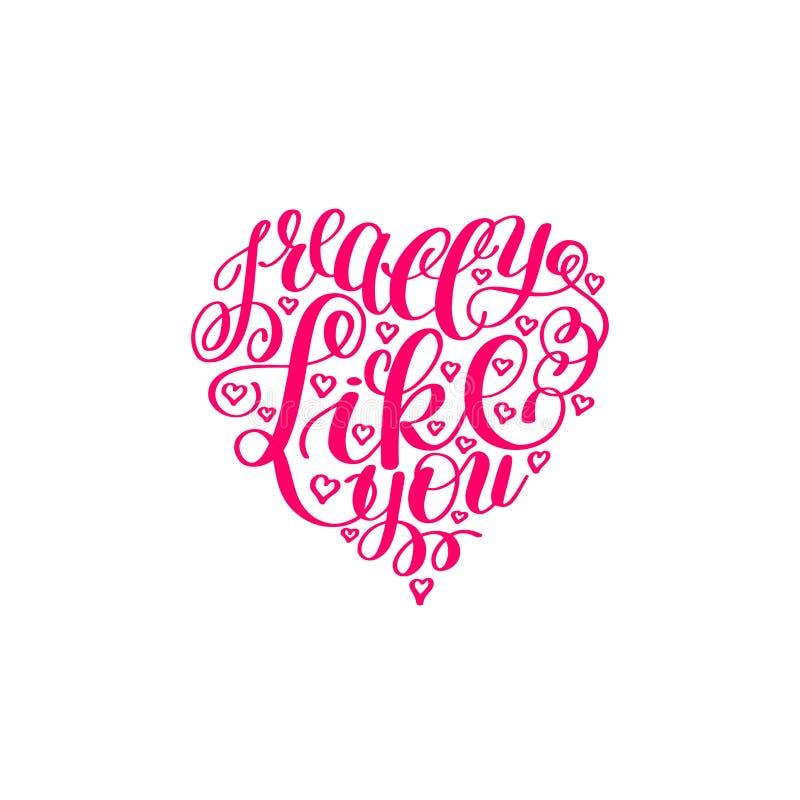 Σας συμπαθώ πραγματικά Επιστολή αγάπης στη μορφή καρδιών, αγγλικό χέρι κειμένων διανυσματική απεικόνιση