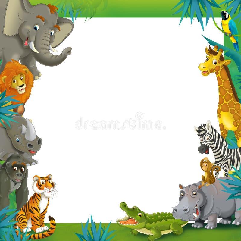 Σαφάρι κινούμενων σχεδίων - ζούγκλα - πρότυπο συνόρων πλαισίων - απεικόνιση για τα παιδιά διανυσματική απεικόνιση