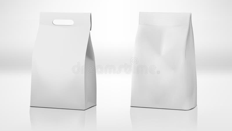 Σαφές άσπρο πακέτο τσαντών εγγράφου τεχνών με τη λαβή και χωρίς ελεύθερη απεικόνιση δικαιώματος