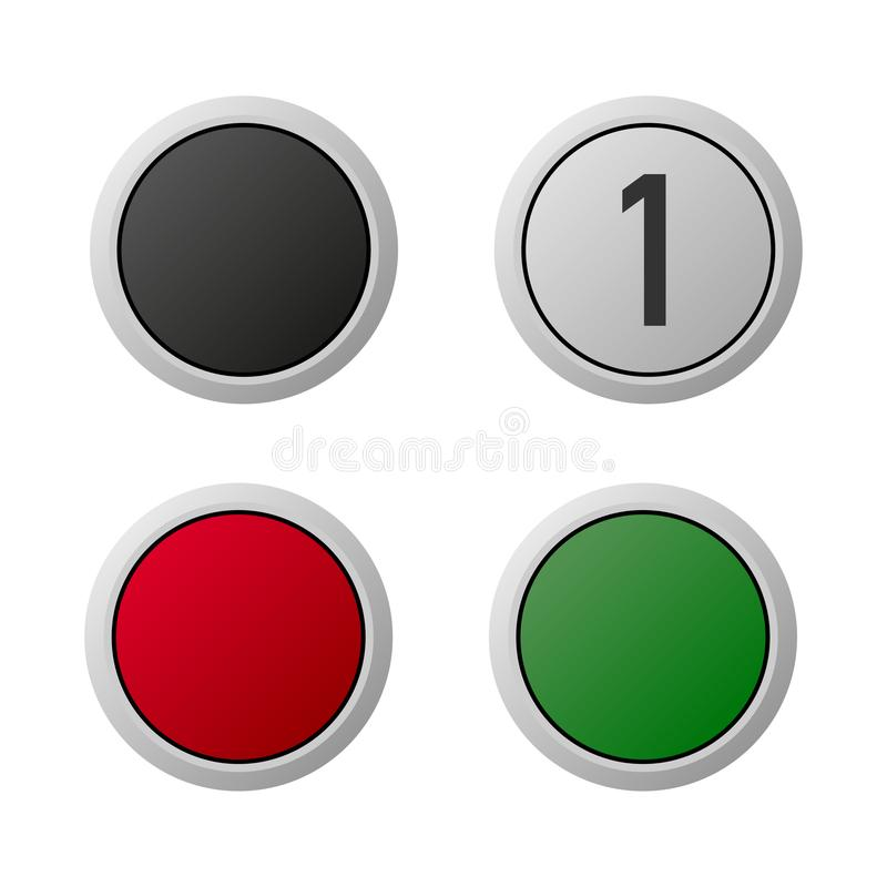 Σαφές άσπρο υπόβαθρο κουμπιών ανελκυστήρων ή ανελκυστήρων απεικόνιση αποθεμάτων