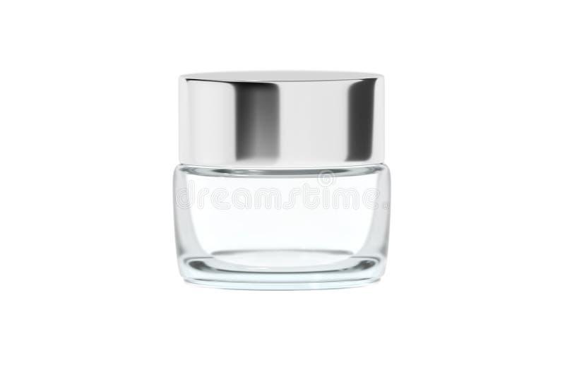 Σαφές βάζο γυαλιού με τρισδιάστατη απόδοση καπακιών χρωμίου τη στιλπνή πλαστική στοκ εικόνες