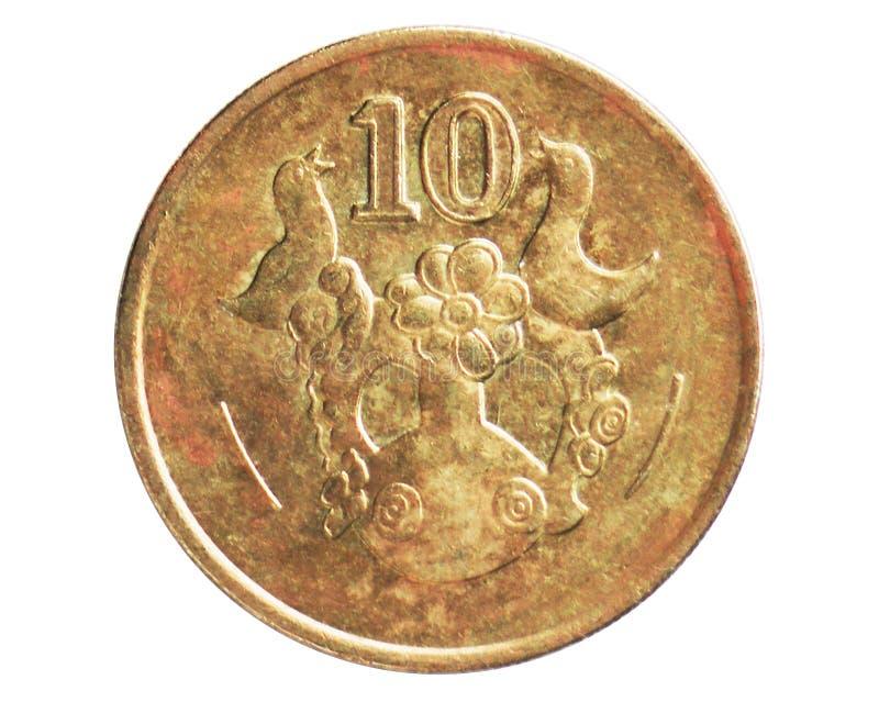 Σαφές περιστέρι 10 σεντ στα όπλα - μεγάλο νόμισμα έτους, 1960~2007 - κυκλοφορία λιρετών Δημοκρατίας/λιβρών serie, τράπεζα της Κύπ στοκ εικόνες