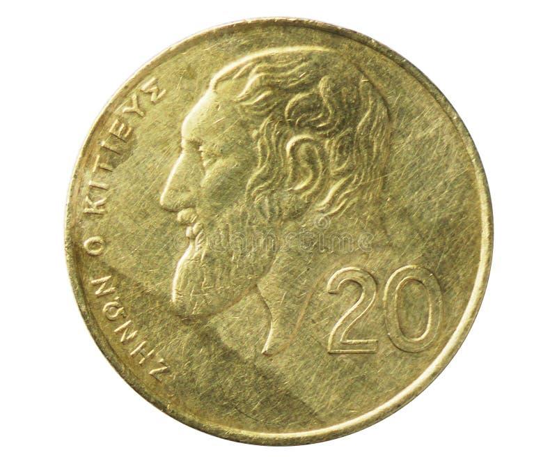 Σαφές περιστέρι 20 σεντ στο νόμισμα ασπίδων, 1960~2007 - λιρέτα Δημοκρατίας/κυκλοφορία λιβρών serie, τράπεζα της Κύπρου στοκ εικόνες