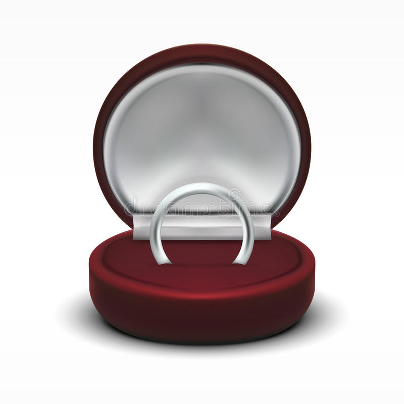 Σαφές στρογγυλό κόκκινο ανοιγμένο βελούδο κιβώτιο δώρων κοσμήματος με το ασημένιο δαχτυλίδι απεικόνιση αποθεμάτων