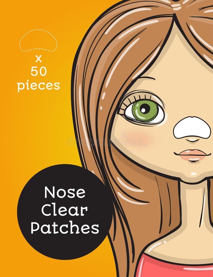 Σαφές σχέδιο συσκευασίας μπαλωμάτων μύτης, γυναίκα ομορφιάς κινούμενων σχεδίων ελεύθερη απεικόνιση δικαιώματος