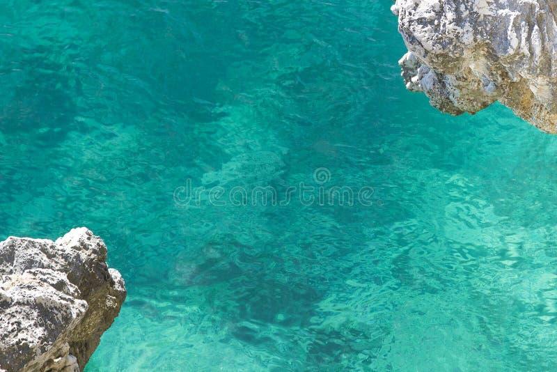 Σαφές τυρκουάζ θαλάσσιο νερό με μια άποψη του κατώτατου σημείου και της προεξοχής των γωνιών του βράχου στοκ εικόνα