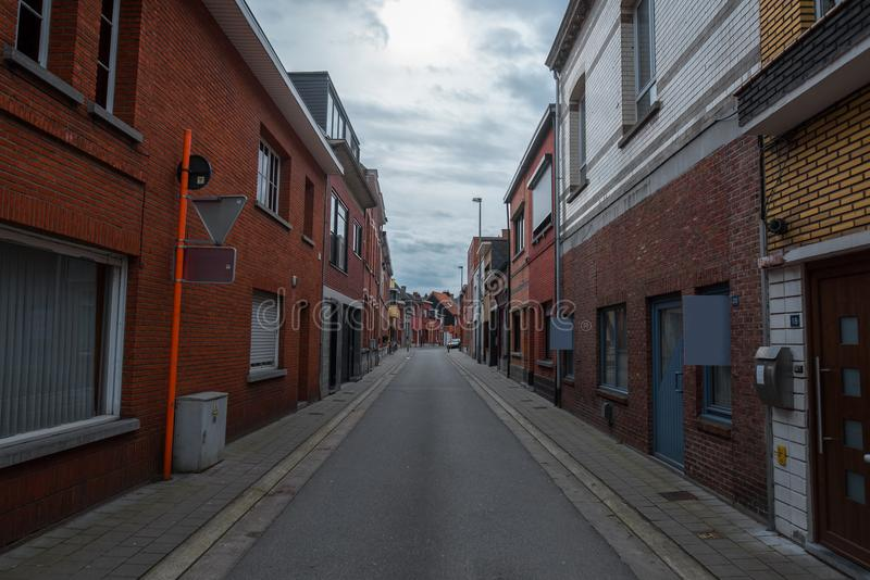 Σαφής οδός στο Βέλγιο, Herentals ημέρα βροχερή στοκ φωτογραφίες