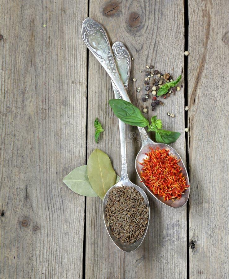 Σαφράνι και κύμινο καρυκευμάτων κουτάλια στοκ εικόνες