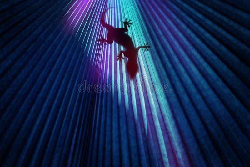 Σαύρα σε έγχρωμο φόντο με οπίσθιο φωτισμό Τάση χρώματος μόδας στοκ εικόνες με δικαίωμα ελεύθερης χρήσης