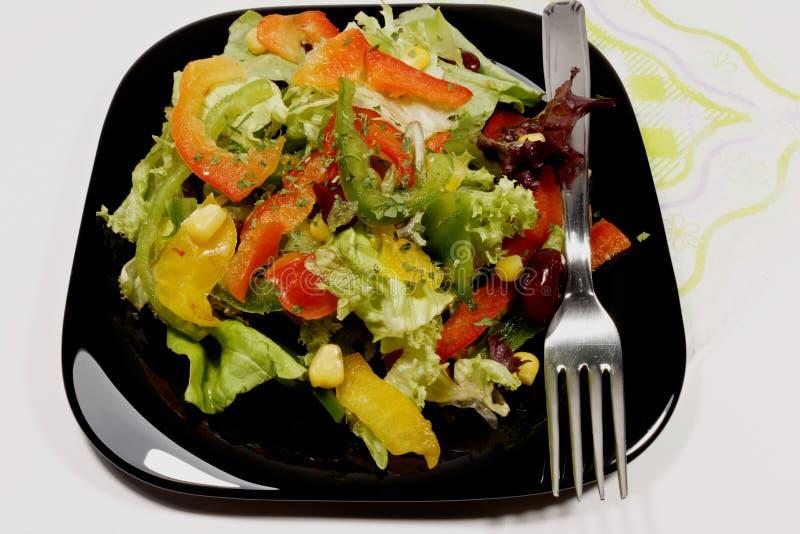 Σαλάτα με τα φρέσκα λαχανικά στο μαύρο πιάτο στοκ φωτογραφίες με δικαίωμα ελεύθερης χρήσης