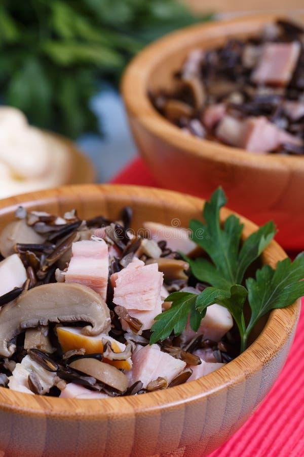 Σαλάτα ρυζιού με το καπνισμένο κοτόπουλο στοκ εικόνες