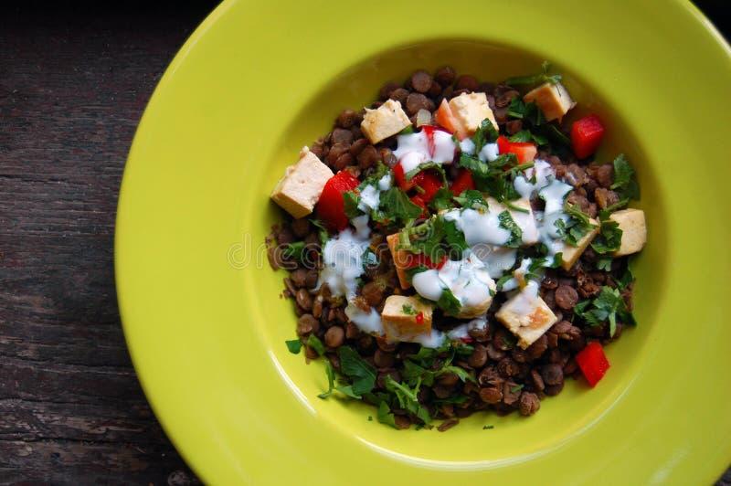 Σαλάτα φακών με ψημένο στη σχάρα tofu στοκ φωτογραφίες