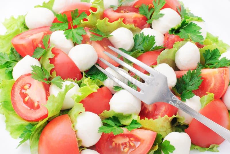 Σαλάτα με τις ντομάτες, τη μοτσαρέλα και τα πράσινα στοκ εικόνες