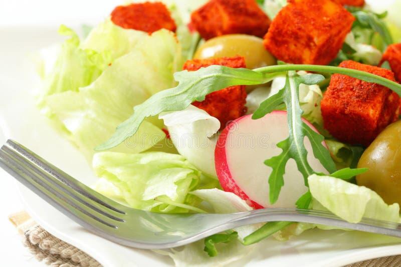 Σαλάτα φρέσκων λαχανικών με το χωρισμένο σε τετράγωνα τυρί στοκ φωτογραφίες