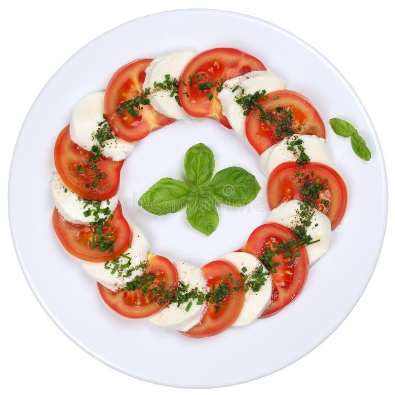 Σαλάτα Caprese με τις ντομάτες και το τυρί μοτσαρελών άνωθεν στοκ φωτογραφίες με δικαίωμα ελεύθερης χρήσης