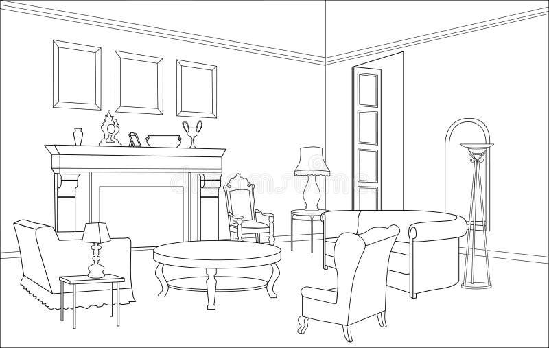 Σαλόνι με την εστία. Έπιπλα Editable. Εσωτερικό στο αναδρομικό ύφος ελεύθερη απεικόνιση δικαιώματος