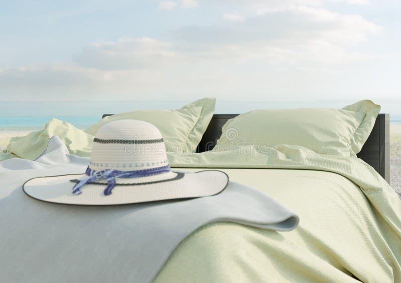 Σαλόνι παραλιών - κρεβάτι με την ομπρέλα στην άποψη θάλασσας για τη φωτογραφία έννοιας διακοπών και καλοκαιριού στοκ εικόνες με δικαίωμα ελεύθερης χρήσης