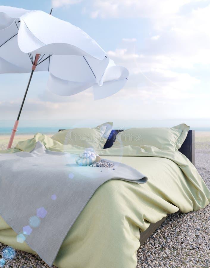 Σαλόνι παραλιών - κρεβάτι με τη φωτογραφία έννοιας ομπρελών και διακοπών και καλοκαιριού θαλασσινών κοχυλιών στοκ εικόνες