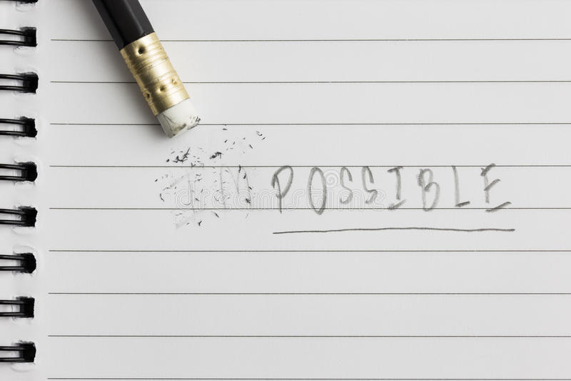 Σβήστε τη λέξη από αδύνατο σε πιθανό στοκ εικόνες