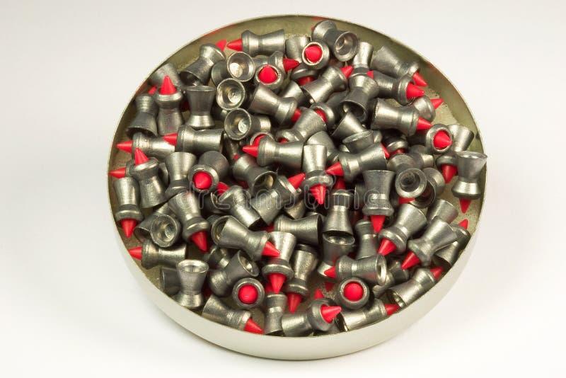 σβόλοι μολύβδου πυροβόλων όπλων εμπορευματοκιβωτίων αέρα στοκ εικόνα