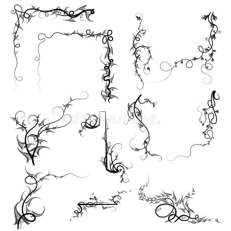 Σγουρές άμπελοι Swirly ελεύθερη απεικόνιση δικαιώματος