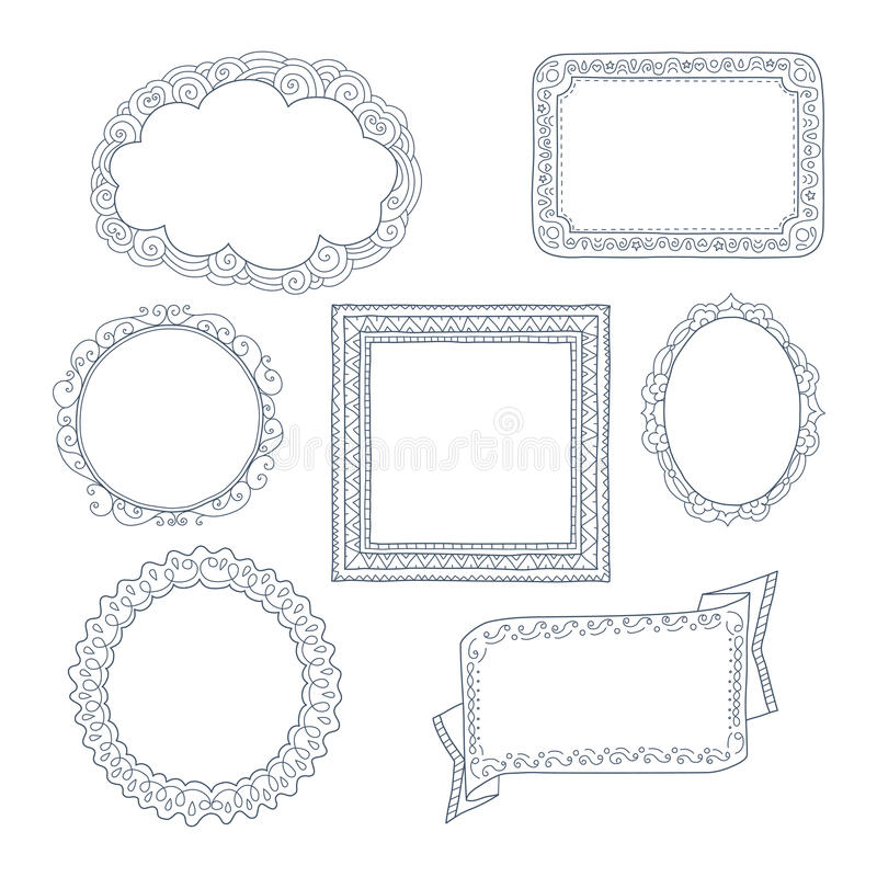 Σγουρές πλαίσια και διακοσμήσεις doodles ελεύθερη απεικόνιση δικαιώματος