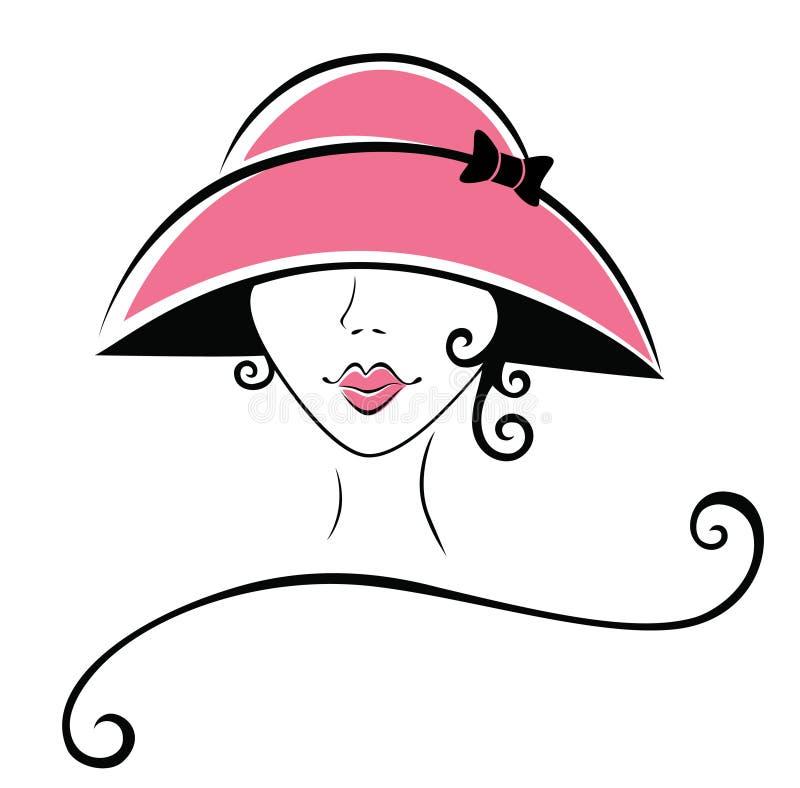 σγουρή γυναίκα καπέλων ελεύθερη απεικόνιση δικαιώματος
