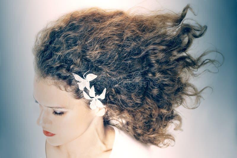 Σγουρή κομψή γυναίκα τρίχας hairstyle στοκ εικόνα