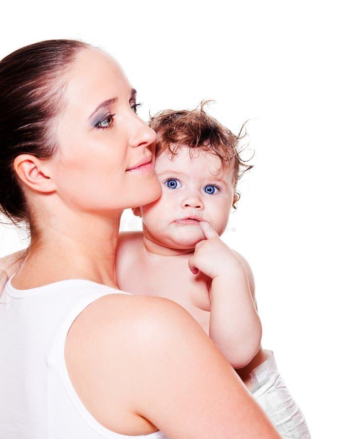 σγουρό γλυκό μητέρων πανών μωρών στοκ φωτογραφία με δικαίωμα ελεύθερης χρήσης