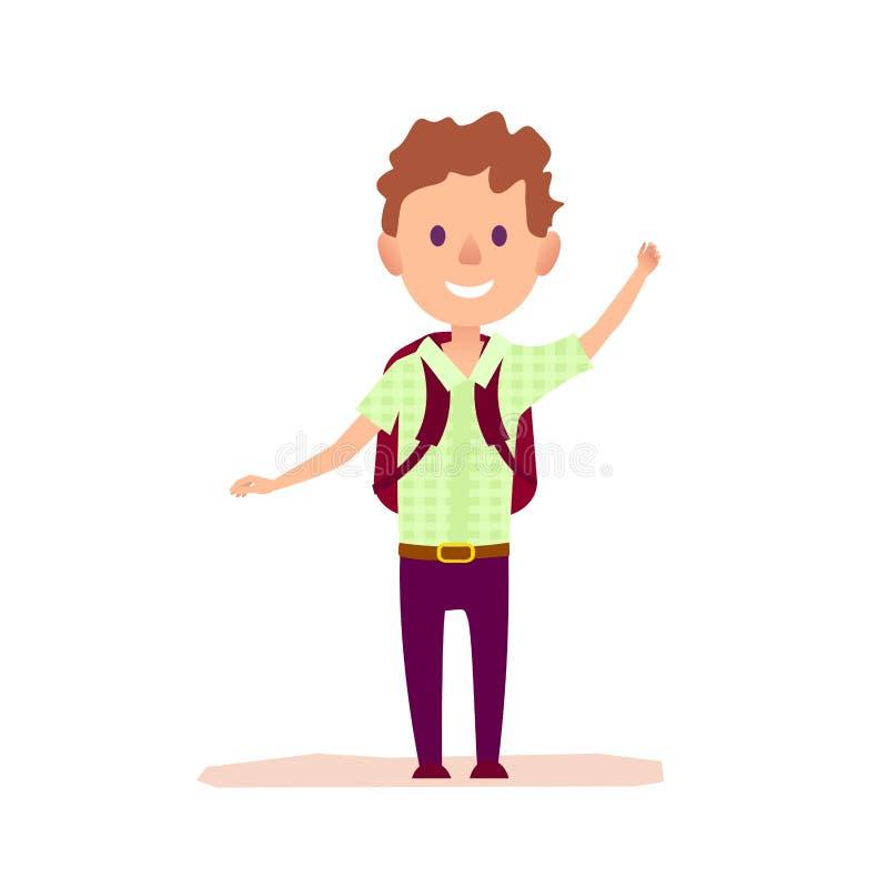 Σγουρό εύθυμο αγόρι με την συνοπτικός-τσάντα που κυματίζει με το χέρι ελεύθερη απεικόνιση δικαιώματος