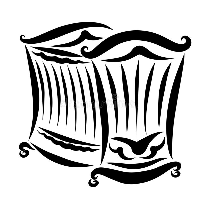Σγουρό παχνί στις ρόδες, μαύρο αφηρημένο σχέδιο ελεύθερη απεικόνιση δικαιώματος