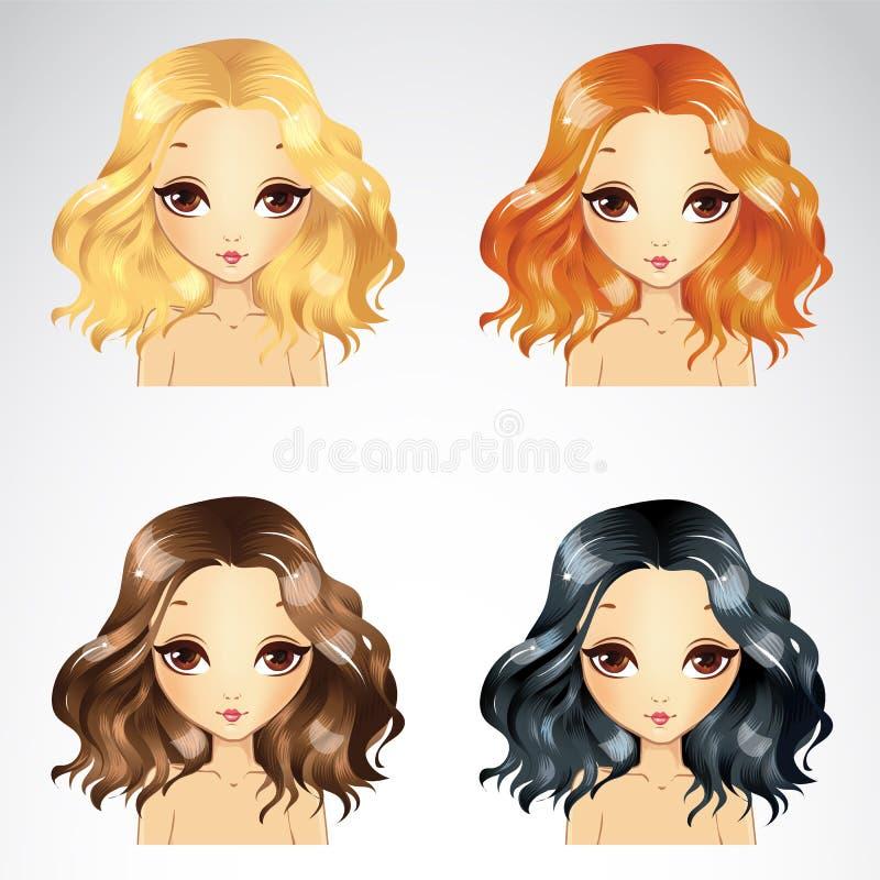 Σγουρό χνουδωτό σύνολο Hairstyle απεικόνιση αποθεμάτων