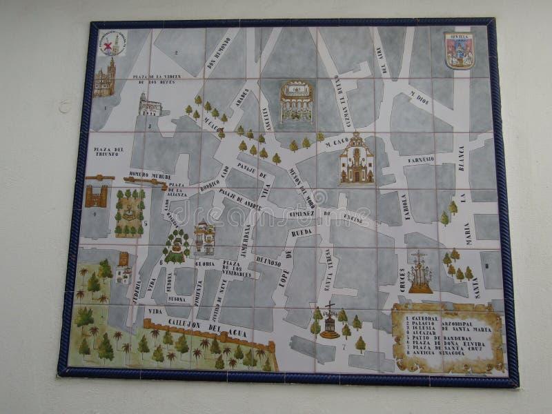 Σεβίλλη, Ισπανία - 26 Ιανουαρίου 2019 - οδικός χάρτης μωσαϊκών στοκ φωτογραφία