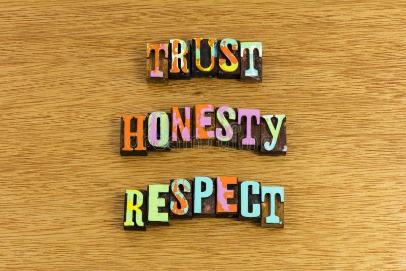 Σεβασμός τιμιότητας εμπιστοσύνης στοκ εικόνες