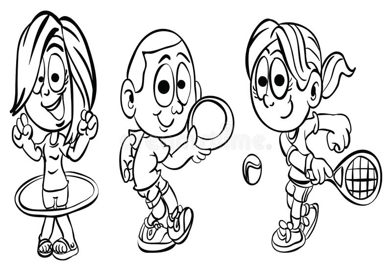 Σειρά ` αθλητικών παιδιών σελίδων ` χρωματισμού διανυσματική απεικόνιση