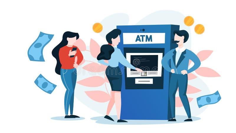 Σειρά αναμονής στο ATM Άνθρωποι που στέκονται και που περιμένουν στη γραμμή απεικόνιση αποθεμάτων