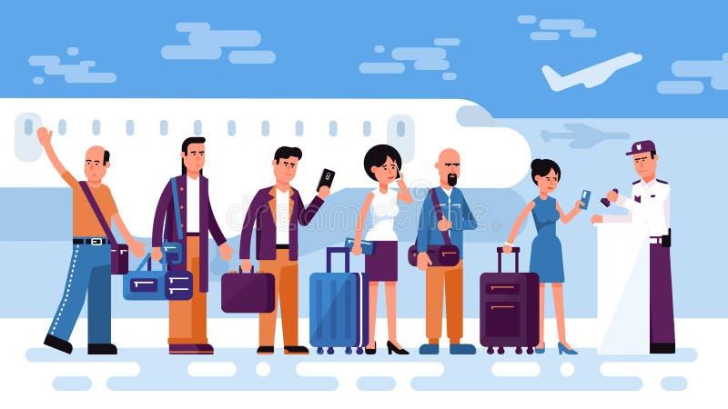 Σειρά αναμονής των ταξιδιωτών ανθρώπων για να ελέγξει μέσα για την πτήση αέρα ελεύθερη απεικόνιση δικαιώματος