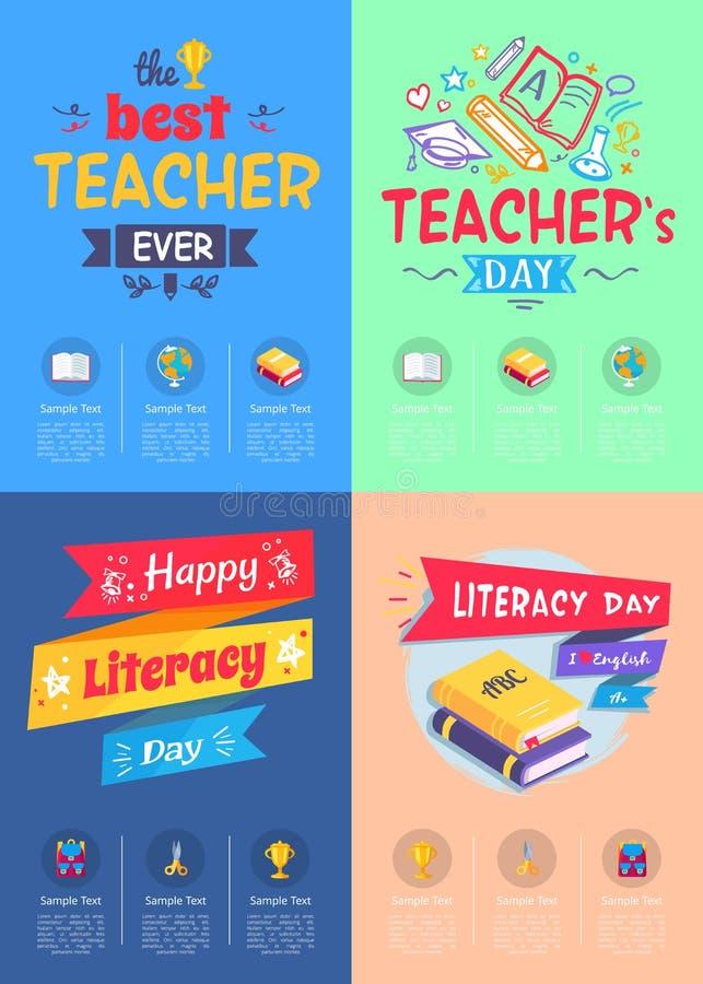 Σειρά διανυσματικής απεικόνισης ημέρας δασκάλων αφισών ελεύθερη απεικόνιση δικαιώματος