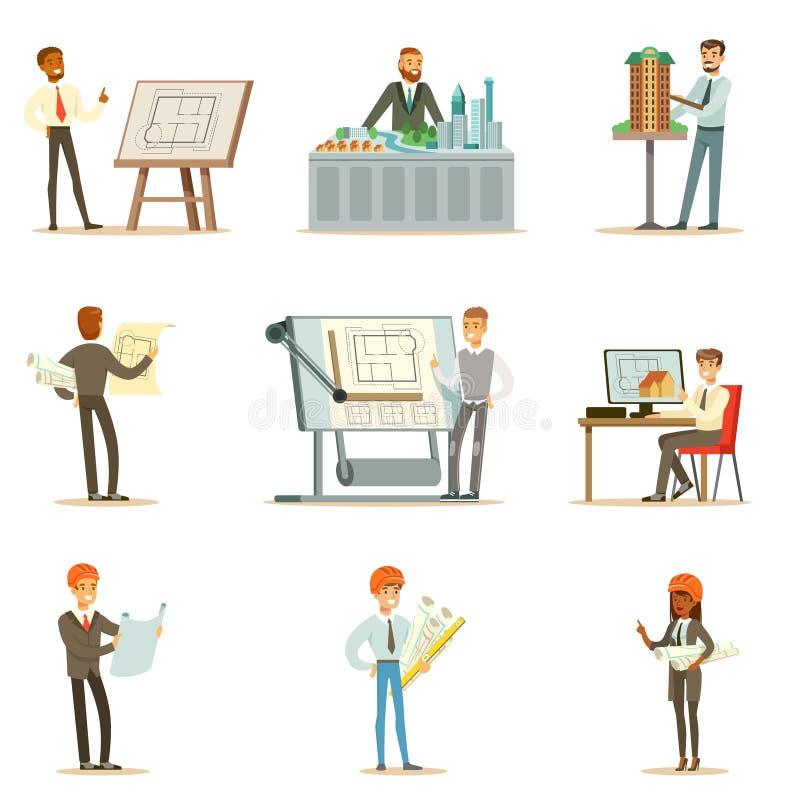 Σειρά επαγγέλματος αρχιτεκτόνων διανυσματικών απεικονίσεων με τους αρχιτέκτονες που σχεδιάζουν τα προγράμματα και τα σχεδιαγράμμα ελεύθερη απεικόνιση δικαιώματος