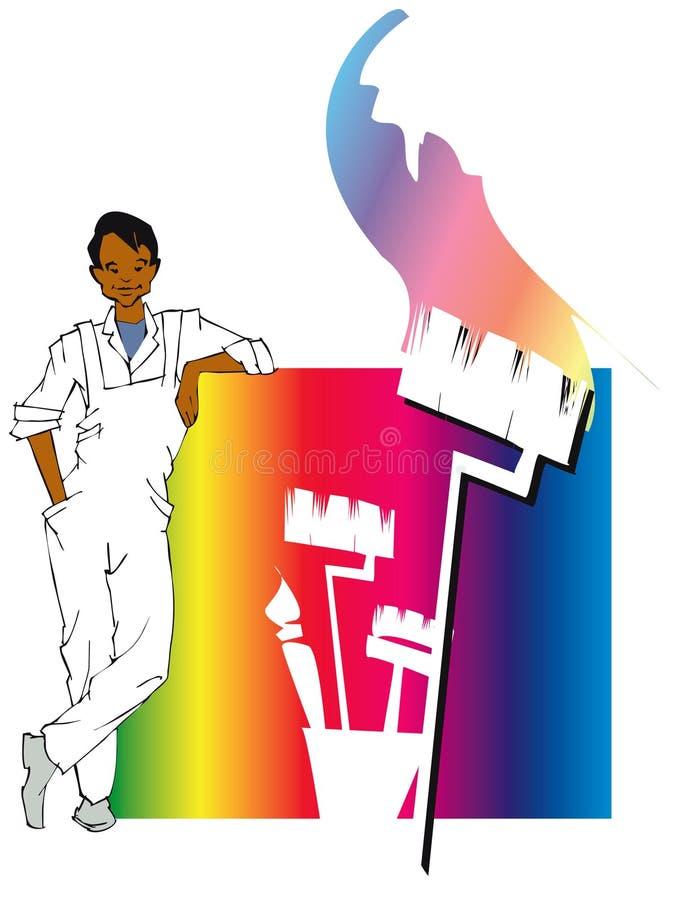 σειρά ζωγράφων εργασίας σπιτιών απεικόνιση αποθεμάτων
