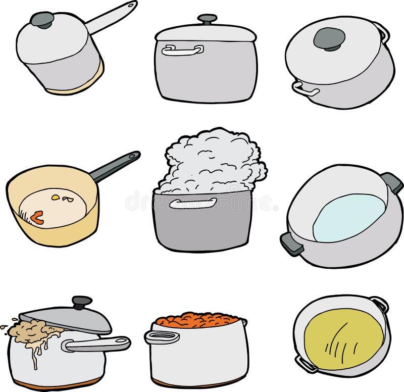 Σειρά δοχείων κουζινών διανυσματική απεικόνιση