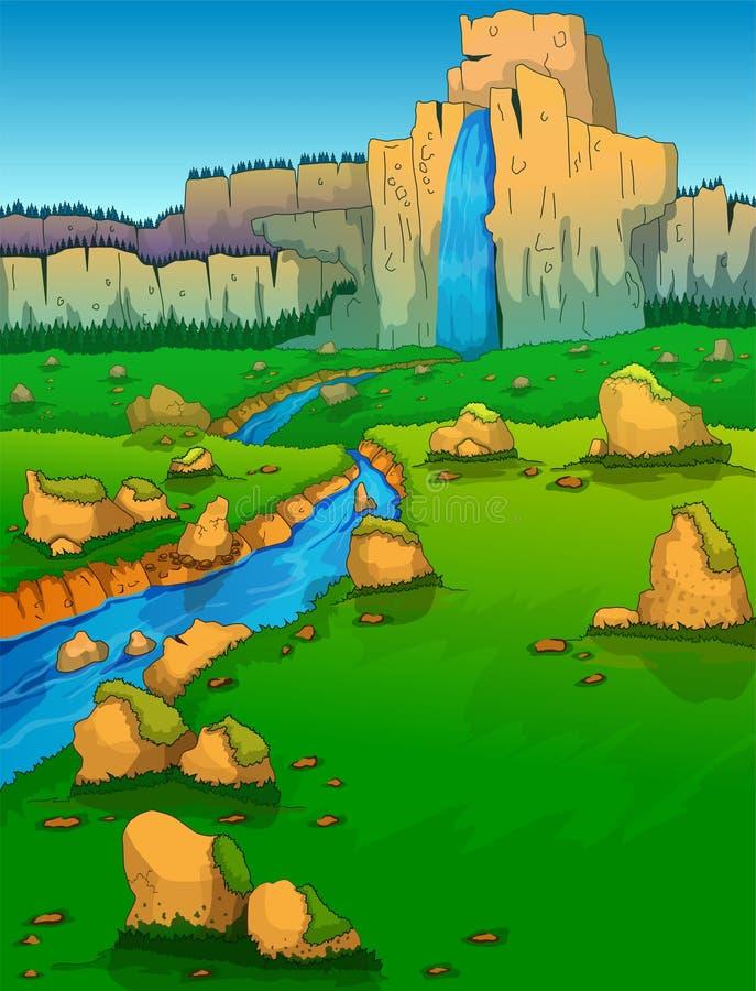 Σειρά, ποταμός και Green Valley βουνών διανυσματική απεικόνιση
