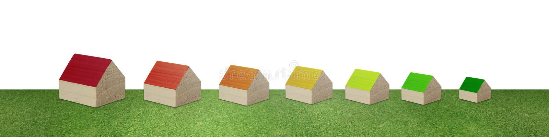 Σειρά σπιτιών που διαμορφώνει την κλίμακα ενεργειακής αποδοτικότητας E r o Constructio απεικόνιση αποθεμάτων