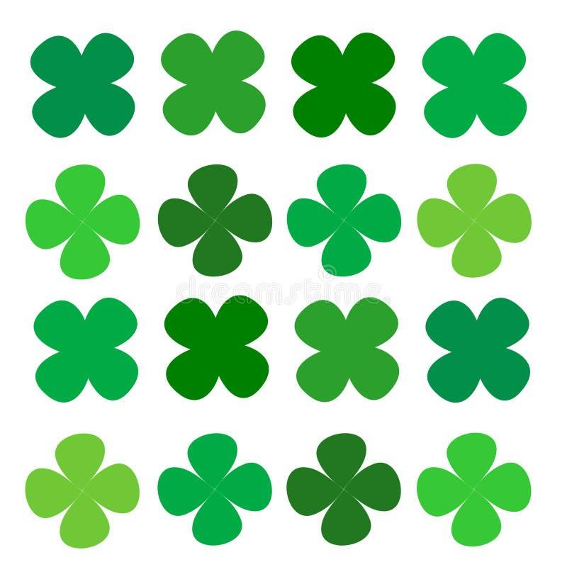 Σειρά τέσσερα τριφύλλι φύλλων πράσινο διανυσματική απεικόνιση
