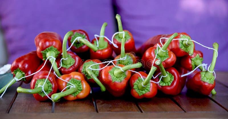 Σειρά των κόκκινων πιπεριών έτοιμων να ξεράνουν στοκ εικόνα