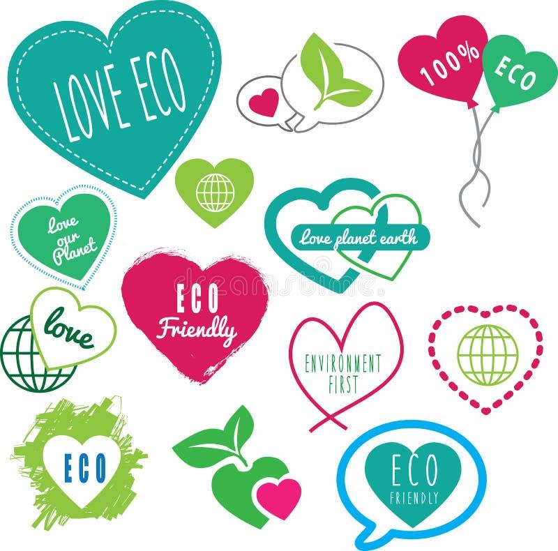 Σειρά φιλικής αγάπης eco τα γήινα λογότυπά μας απεικόνιση αποθεμάτων