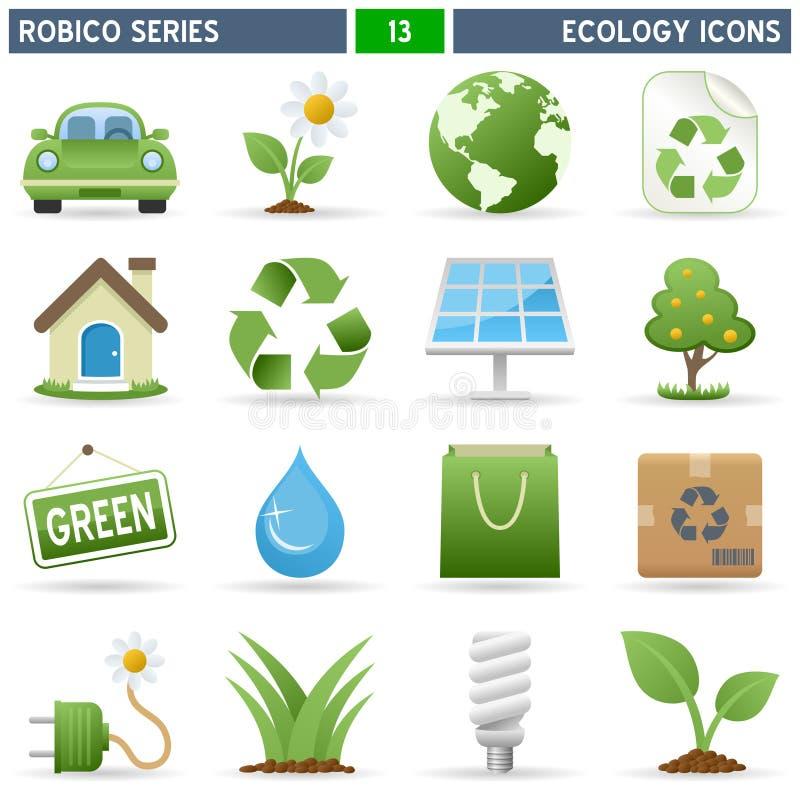 σειρά robico εικονιδίων οικο&l διανυσματική απεικόνιση