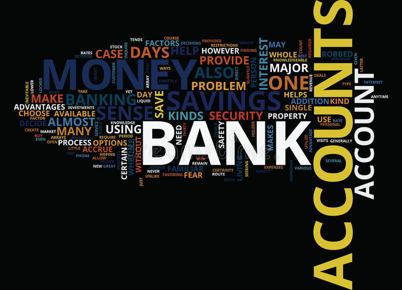 Σειρές έννοιας σύννεφων του Word τραπεζικών λογαριασμών απεικόνιση αποθεμάτων