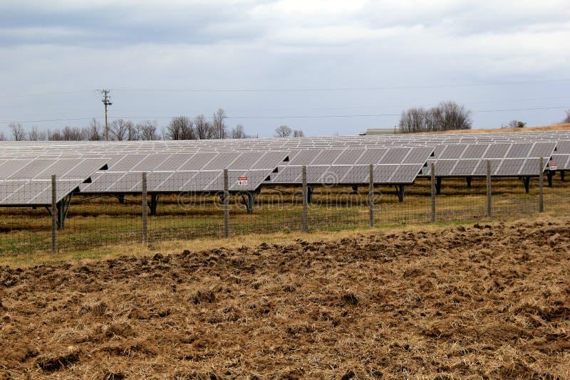 Σειρές των ηλιακών πλαισίων έξω στη μέση ενός τομέα στοκ εικόνα